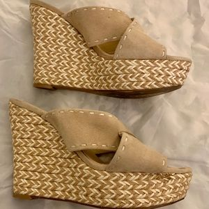Guess Wedge suede shoes size 7. M Gently worn